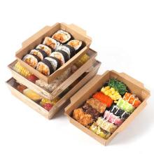 Индивидуальная коричневая коробка для еды из крафт-бумаги, контейнер для салатов, одноразовая упаковка для еды, обеда