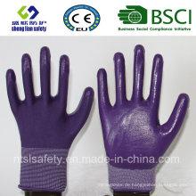 13G Polyester Shell mit Nitril beschichteten Arbeitshandschuhen (SL-N108)