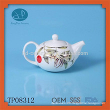 ceramic teapot with decal,fashionable ceramic teapot with design,hand painted tea pot