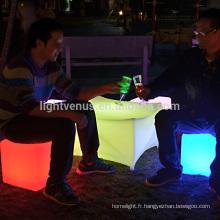 léger éclat led cube siège utilisé événement extérieur meubles colorés RVB conduit chaise de barre lumineuse cube