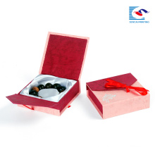 Wholesale red color rigid cover cardboard jewelry boxes with ribbon and foam inlay
