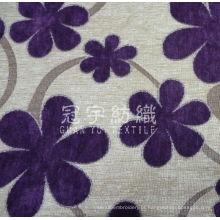 Tecido decorativo jacquard chenille com padrão floral