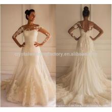 El cordón caliente de la venta Appliques el vestido de boda largo de la manga de la sirena del tren de la corte CWFw2255