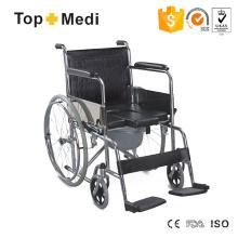Topmedi Economic verchromter manueller U-förmiger Sitz-Toiletten-Rollstuhl