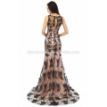 2017 new fashion Charming OEM service small tail long evening dress patterns with black color lace