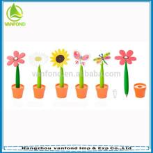 Hangzhou caneta fábrica preço direto de borracha flor bola caneta atacada