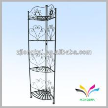 Estilo de piso 4-tier clásico elegante metal negro jardín pared estante de la olla