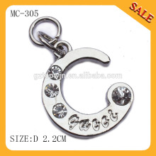 MC306 Manufacture high quality hang tag metal plate,hot sale metal tag with crystal for keyring