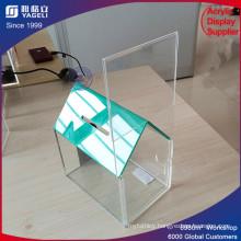 Elegant Design House Shaped Clear Acrylic Donation Box