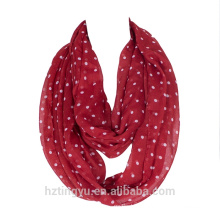 Fashionable whosale green soft feeling basics women Print red Polka Dot voile infinity scarf