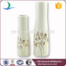 YSv0040 Vaso cerâmico de decoração com design floral dourado