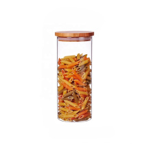 2021 hot sell kitchen food storage airtight glass jar with bamboo lid BJ-118A