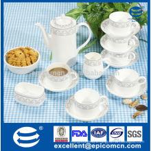 17pcs silver design printing tea set in new bone china material