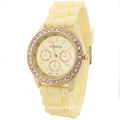 Girls Silicone Bracelet Watch With Diamend