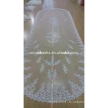NW1209 Lange Bridal Veil Lace Appliqued mit Kamm