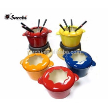 Emaille Gusseisen Fondue Set