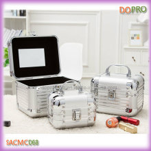 3 in 1 Set Light Beauty Case Silver Mirror Jewelry Boxes (SACMC068)