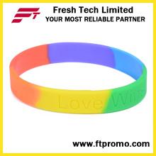 OEM радуга спорта силиконовый браслет с логотипом