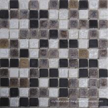 Vintage Black Mix White Coffee Color Ceramic Glazed Mosaic Tile