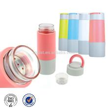 Wasser-Glasflasche mit Infuser Silikonhülle