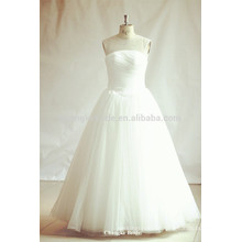 Princess Illusion Neckline White Tulle Wedding Dresses
