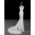 Sheath shape stripes lace pattern decorated by sequins long wedding dress