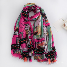 Women Fashion Printed Viscose Spring Silk Scarf (YKY1132)
