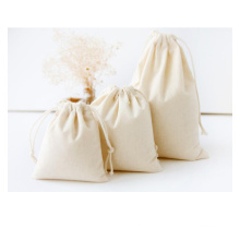 cotton canvas solid color blank pouch drawstring storage cloth bag tea shopping bag promotional pouch