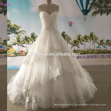 Real Photo Ball Gown Wedding Dresses Sweetheart Corset Lace Up Back Tiered Bridal Wedding Gown