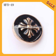 MFB49 Customized luxury brand metal shank buttons with 3D embossed logo for clothing