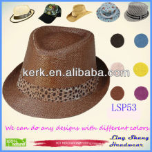 2013 Nice Brown Plaited 100% Paper Straw Hat ,LSP53