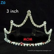 Atacado pequeno cristal de cabelo acessórios mãe do dia dom MOM coroas, coroas personalizadas