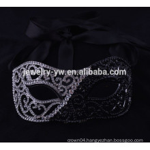 fashion metal silver plated crystal masquerade black mask for man