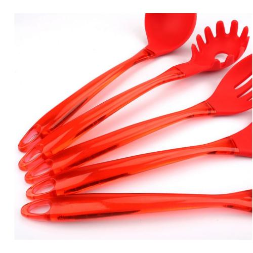 Set dari Silicone Utensils Red Slotted Turner Spoon