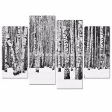 Arte de la pared del árbol de abedul del panel 4 / impresiones blancos y negros del bosque en lona / cartel del paisaje del invierno
