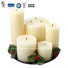 100% Paraffin Wax Material and Pillar Shape White Pillar Candles