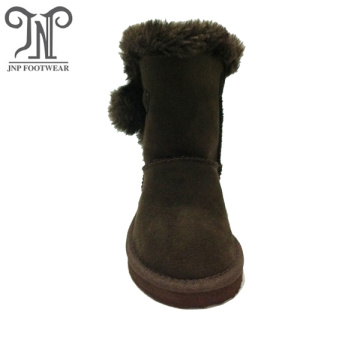Brown Cheap Boys Childrens Suede Furry Boots