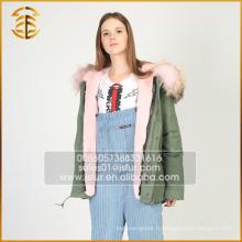 Nouveaux modèles de femmes véritable Raccoon Ladies Hooded Real Fur Parka
