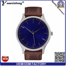 Yxl-407 Unique Design Fashion Luxury Men′s Wrist Watches Quartz Blue Dial Leather Watches Business Custom Watch Men