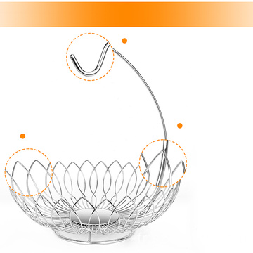 China Factory Fashion Single Bayer Wall Hanging Metal Wire Fruit Drain Decoration Bowl Basket Banana Rack