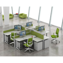 Cross Design Metal Legs 4 Person Workstation for Staff with Aluminum Frame Divider
