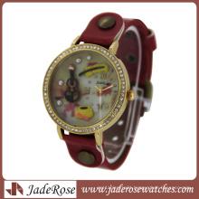 Unique Design Wholesale Diamond & Leather Strap Watch