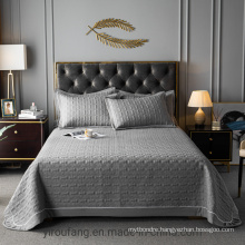 Luxury Hotel Gray Quilt Bedspread Twin XL Comforter Set for Spring and Summer