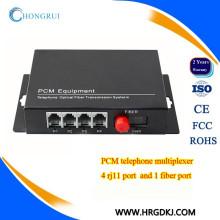 4 potes do conversor do pcm do canal (rj11) linha telefónica sobre o conversor da fibra