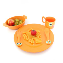 Lovely Eco Bamboo Fiber Children Dinner Plate Set Tableware For Home Use