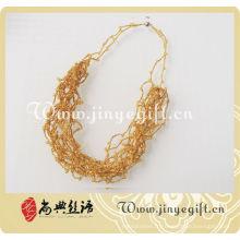 Bijoux artisanaux Crystal Bead or fait à la main au Crochet collier