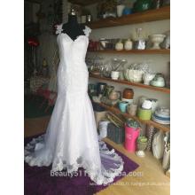 Encolure chérie Ceinture épaule robe de mariée sans manches robe de mariée P110