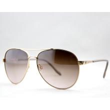 Мода ретро простые поляризованные металлические солнцезащитные очки для дам (14129)