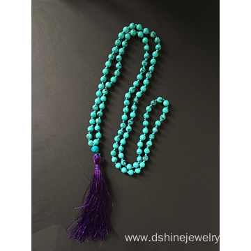 Turquoise Necklace Hand Knotted Skull Long Tassel Necklace