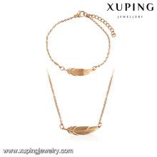 64106-Xuping Fashionable 18k feather shape set jewelry in guangzhou